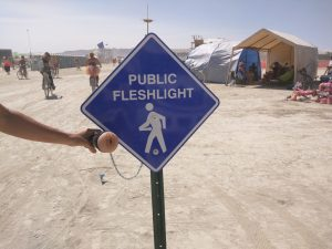 picture of a public fleshlight on the burning man festival